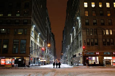 New York snow: Eerily deserted car-free streets like a