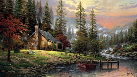Life In Nature House Forest Trees Stream Lake Boat