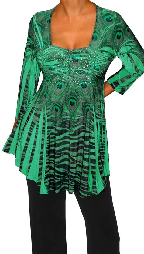 Plus Size Clothing Emerald Green Empire Waist Womens Top
